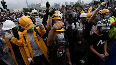 Photo of Gran despliegue policial contra manifestantes en Hong Kong
