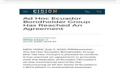 Photo of Grupo de tenedores de bonos de Ecuador apoya acuerdo y espera más adhesiones
